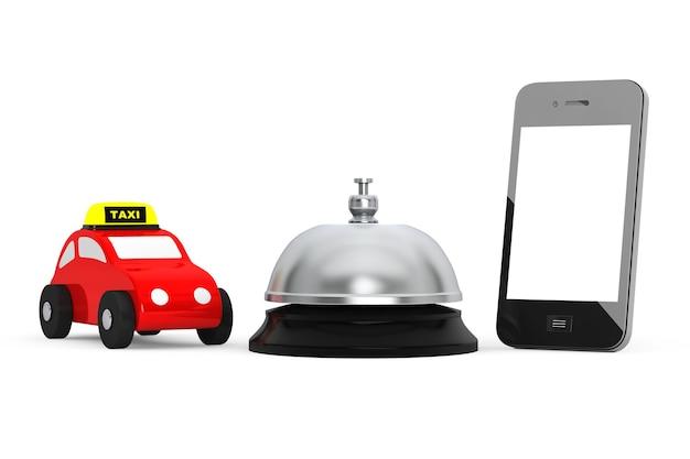 Игрушечный автомобиль такси с мобильным телефоном и сервисным звонком на белом фоне. 3d рендеринг