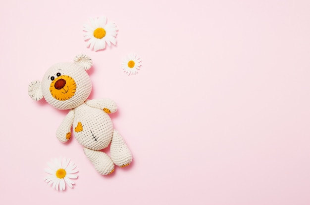 Toy teddy bear with daisies isolated on pink