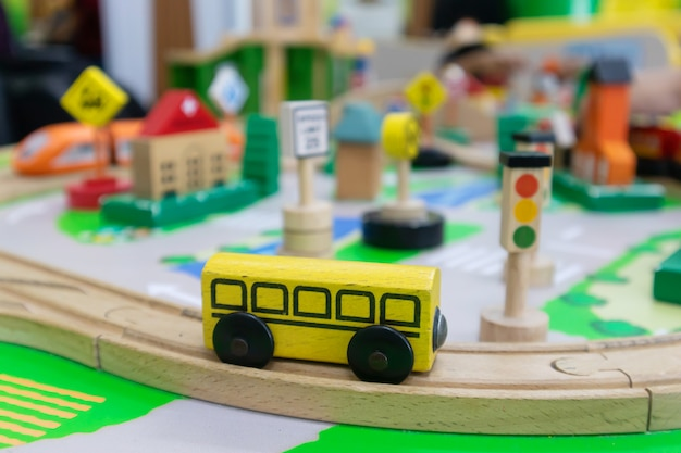 Toy traffic management made of wood for brain development for children
