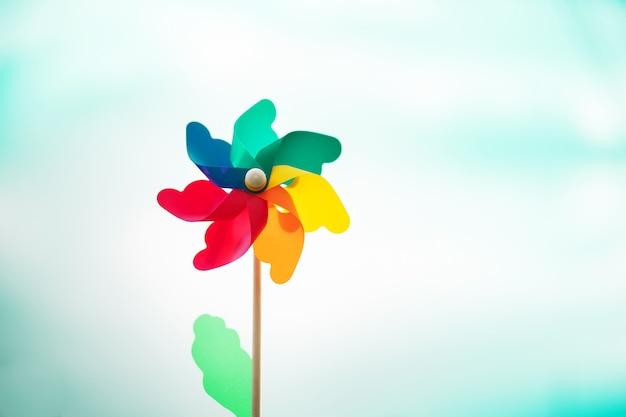 Toy turbine sky with blurry background