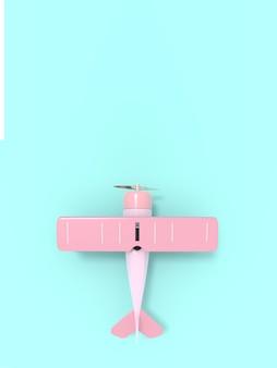 Toy vintage aircraft illustration 3d rendering