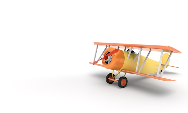 Toy vintage aircraft illustration with empty place for text, 3d rendering