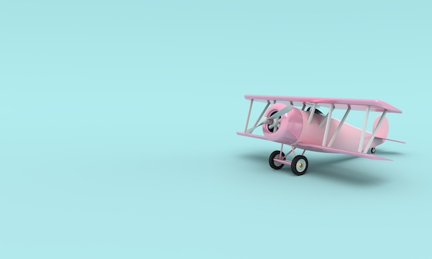 Toy vintage aircraft. illustration with empty place for text. 3d rendering