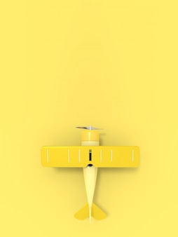 Toy vintage aircraft illustration with empty place for text, vertical orientation, 3d rendering