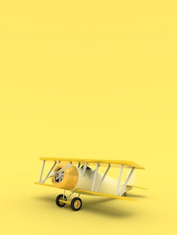 Toy vintage aircraft illustration with empty place for text, vertical orientation