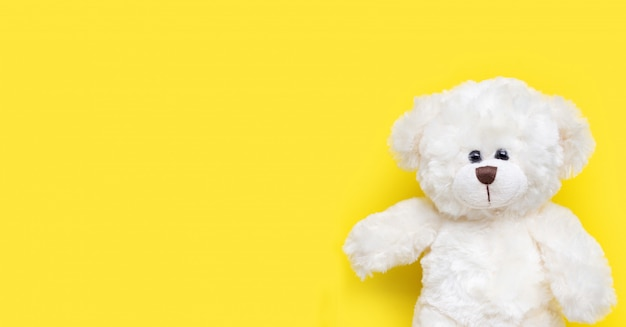 Toy white bear on yellow background.