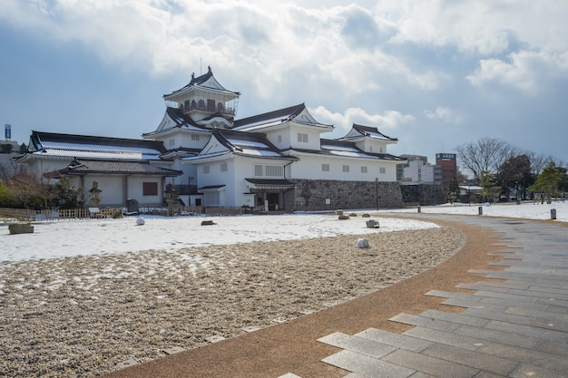Toyama castle with snow in toyama city, japan