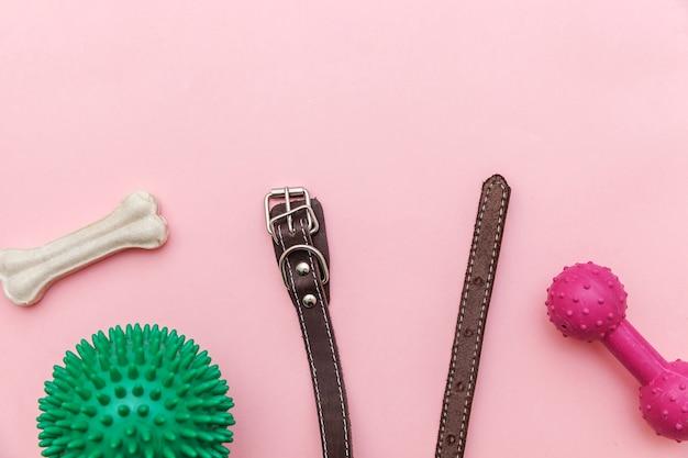 ピンクのテーブルで隔離の犬の遊びやトレーニングのためのおもちゃやアクセサリー