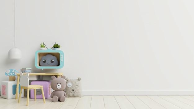 흰 벽에 장난감과 어린이 의자