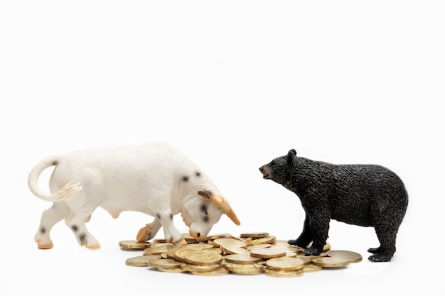Toys of bull and bear animals standing on coins, isolate on white