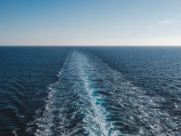 Trace of a cruise ship on the sea surface