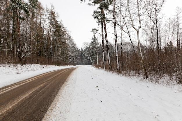 冬の雪道に車で残された痕跡。曇りの天気での写真のクローズアップ。道は木々のある森を通り抜けます