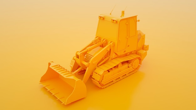 Track loader isolated on yellow 3d illustration.