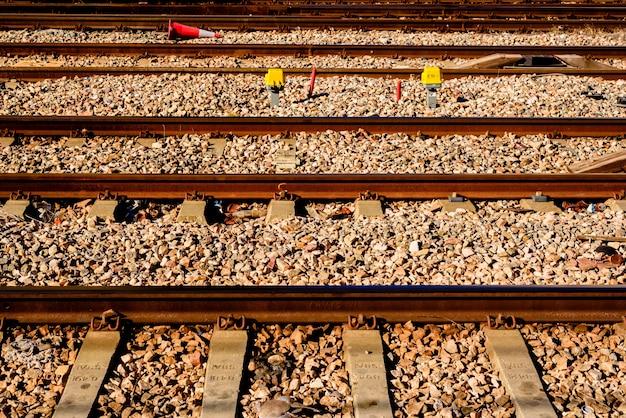 Tracks of a train near a station.