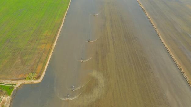Трактор на поле, вид сверху пейзаж, природа, поле риса