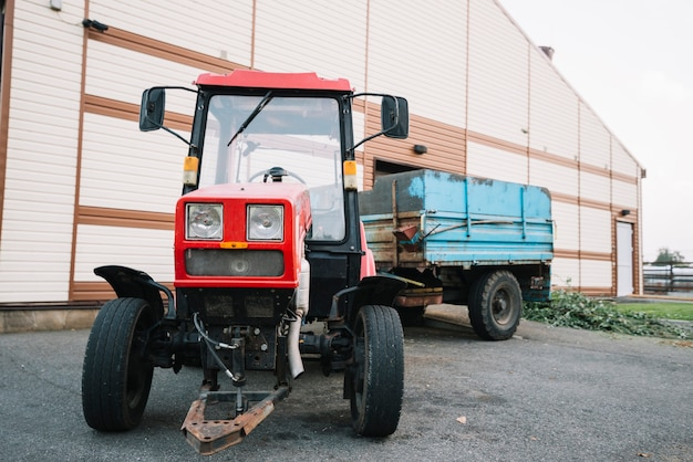 Tractor outside the barn