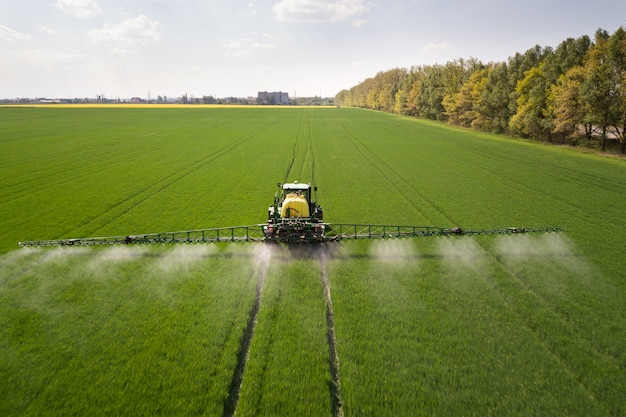 Tractor spraying pesticides with sprayer on the large green agricultural field