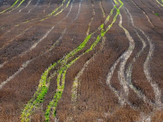 収穫された秋の畑のトラクタートラック、空撮。