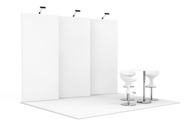 Торговый коммерческий выставочный стенд на белом фоне. 3d-рендеринг.