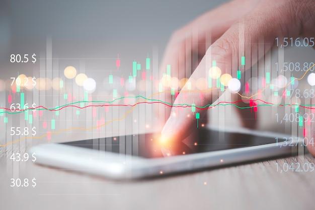 Рука трейдера, касающаяся экрана смартфона для анализа технической диаграммы фондового рынка