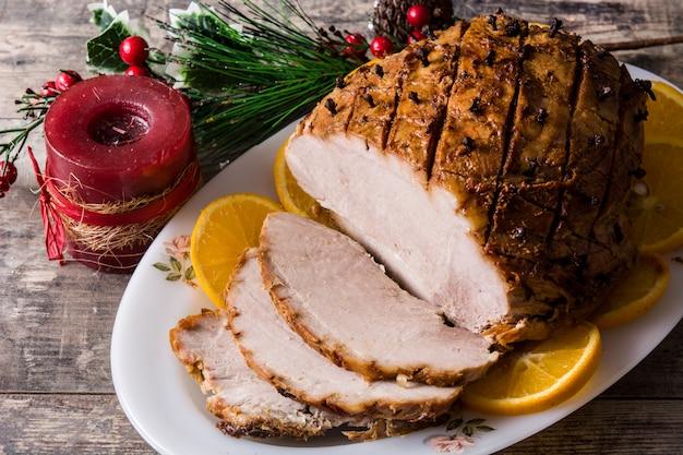 Tradicional homemade honey glazed ham for holidays
