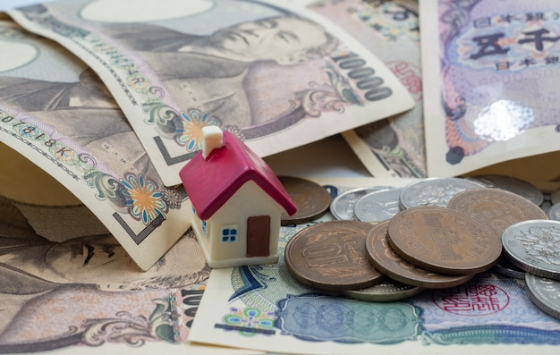 Trading, collecting money, buying a home concept
