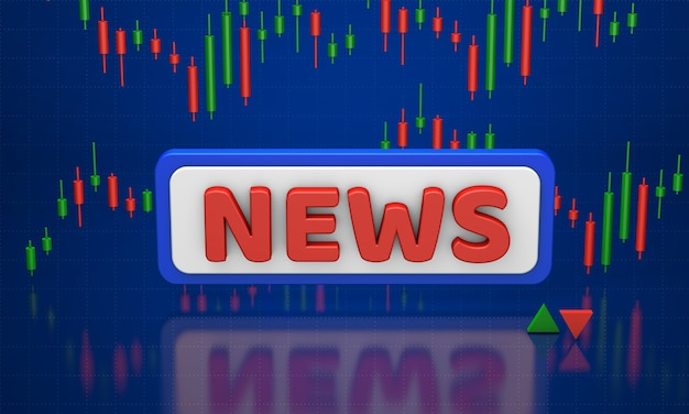Trading news. growth charts and indicators on a blue background. 3d render
