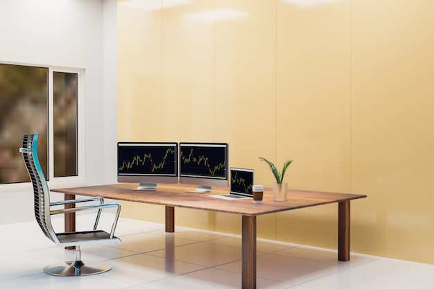 Trading room and working of business people, 3d illustration rendering