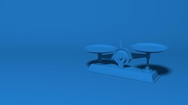 Торговые весы не равны. стильная минимальная абстрактная горизонтальная сцена, место для текста. модный классический синий цвет. 3d рендеринг