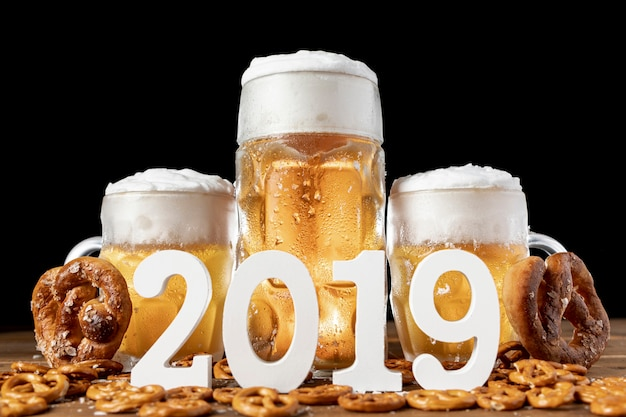 Tradition bavarian beer and pretzels 2019