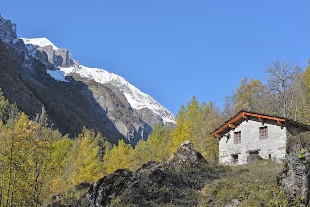 푸른 하늘 아래 산 풍경에 전통적인 고산 오두막