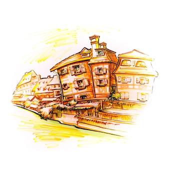 프랑스 알자스(alsace) 콜마르(colmar)의 구시가지인 petite venise에 있는 전통적인 알자스(alsatian) 골조 주택입니다. 그림으로 만든 마커