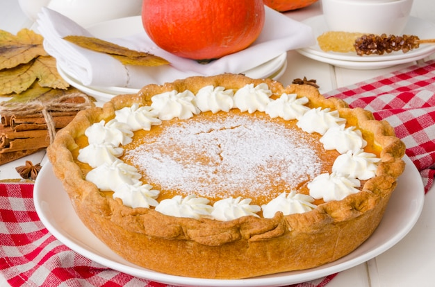 Traditional american pumpkin whipped cream pie on a white plate
