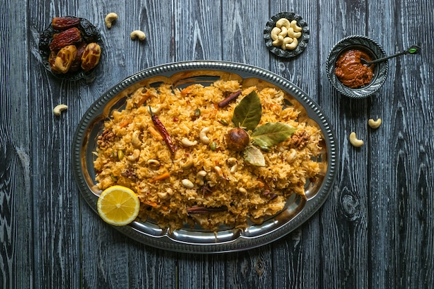 Traditional arabic basmati rice with vegetables. arabic cuisine. vegetable biryani.