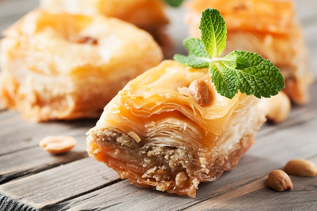 Traditional arabic dessert baklava with honey