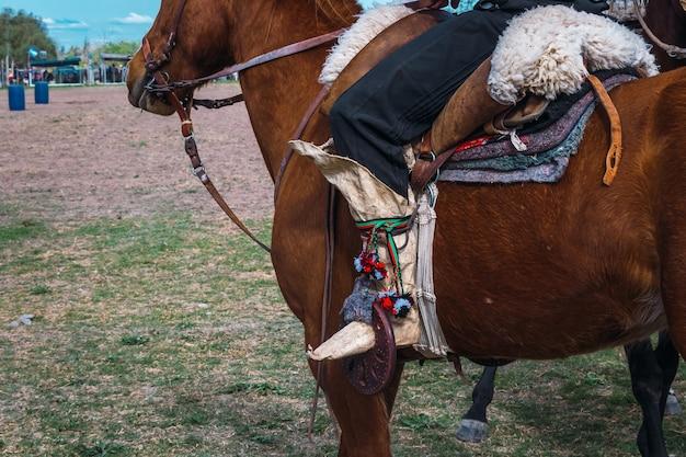 파타고니아의 아르헨티나 전통 가우초 부츠.