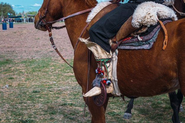 Traditional argentine gaucho boots in patagonia.