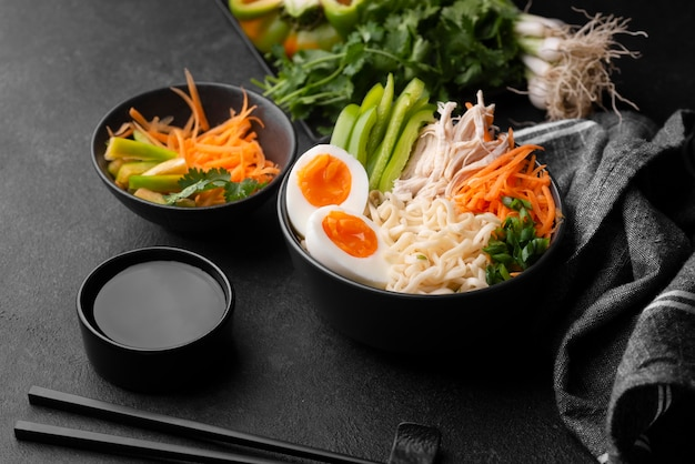 Traditional asian dishes with vegetables and eggs