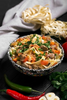 Traditional asian noodle lagman