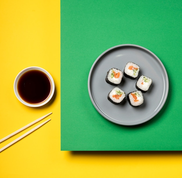 Traditional asian sushi rolls flat lay