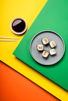 Traditional asian sushi rolls top view