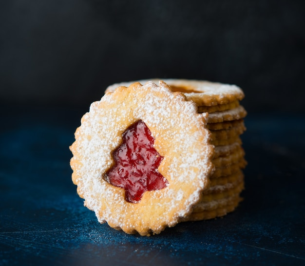 Traditional austrian linzer cookies with jam, homemade cakes, selective focus, close up