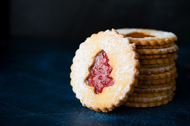 Traditional austrian linzer cookies with jam, homemade cakes, selective focus, copy space