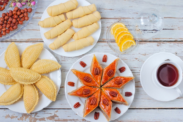 Traditional azerbaijan holiday novruz cookies baklava on white plate