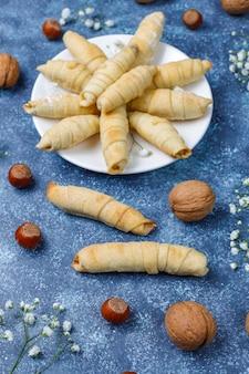 Traditional azerbaijan holiday novruz cookies mutaki on white plate
