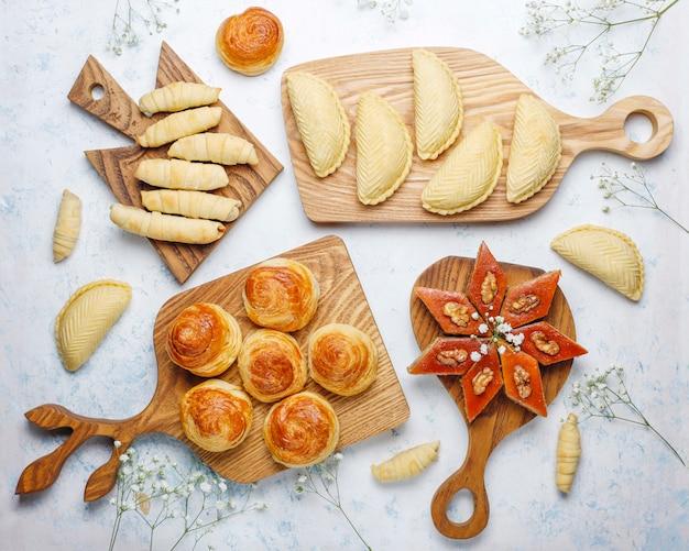 Traditional azerbaijan sweets shakarbura,bakhlava,qogal,mutaki cookies ,azerbaijan holiday novruz