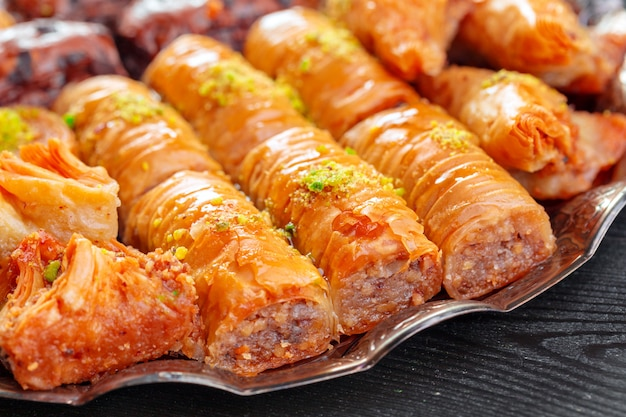 Traditional baklava on wooden surface table