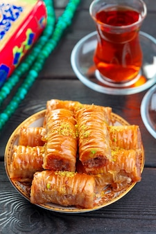 Traditional baklava on wooden table
