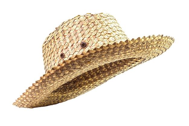 흰색 표면에 고립 된 전통적인 바구니 세공 모자