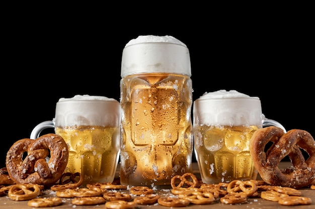 Traditional bavarian beer and pretzels on a table
